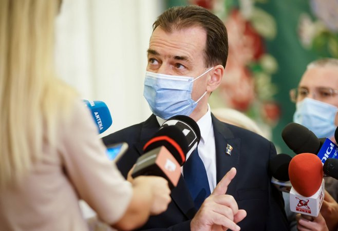 Bucharest, Romania - August 20, 2020: Prime minister Ludovic Orban makes press statements about his dismissal proceedings started by PSD in the joint